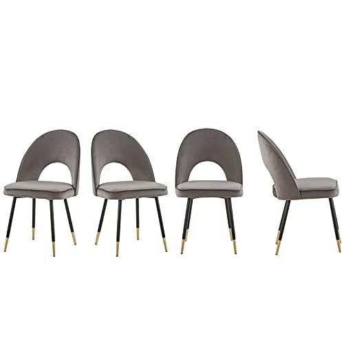 AINPECCA Esszimmerstühle mit Samtbezug, gepolsterte Sitzfläche mit Metallbeinen, grau und goldfarben, 4 Stück