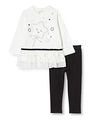 Chicco Baby-Mädchen Completino T-Shirt Manica Lunga + Leggings Abendanzug - Set, Schwarz Und Weiß, 56