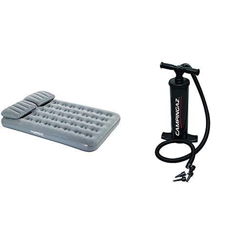 Campingaz Quickbed Smart Luftbett, Grau, 188 x 137 x 19 cm & Luftpumpe Dual Action Hand Pump
