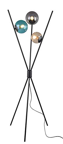 Trio Leuchten Lance 403400317 - Lámpara de pie (metal y cristal, 3 bombillas E14), color negro mate