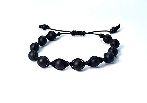 Shamballa-Armband aus Jade Naturstein Perlen mit schwarz Macramee Band, verstellbar ab 17cm