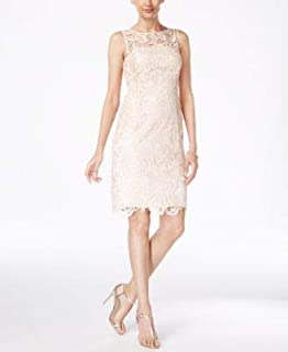 ADRIANNA PAPELL Womens Beige Lace Sleeveless Jewel Neck Above The Knee Sheath Party Dress US Size: 2