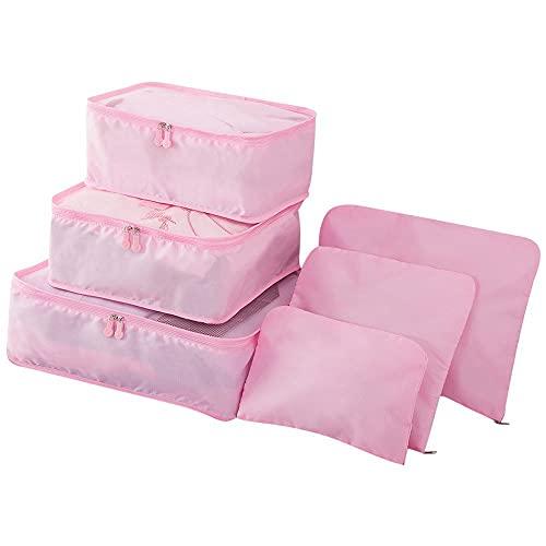 skrskr 6pcs / Set Bolsas de Viaje de Equipaje Ligero Hombres y Mujeres Cubiertas de Embalaje Organizador Bolsas de compresión Moda Cremallera Doble Bolsa de poliéster Impermeable Maleta (Rosa)