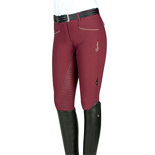 Equiline Celia Full Grip - Pantaloni da Equitazione, da Donna, Colore Bordeaux, Taglia 42