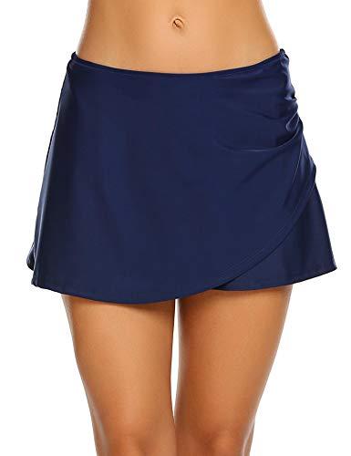 Balancora dames badrok met slip bikinibroek midden taille elastische zwemshorts UV-bescherming badpak, sleuf aan de zijkant en trekkoord