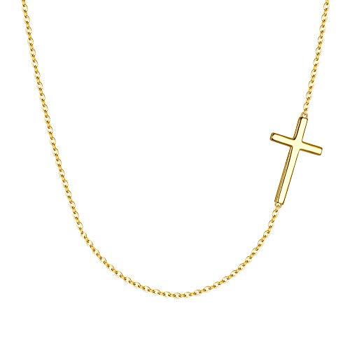EVER FAITH Collier Femme Forme Croix Délicat Argent 925 Bijou Style Simple Mariage Cadeau Or