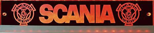 Scania LED-Leuchtschild mit Vabis-Greif, 60x10 cm ✓ Ideale Geschenkidee ✓ Lasergraviert | Edles LED-Schild als Truck-Accessoire | Beleuchtetes Scania Logo-Schild für den 12/24Volt-Anschluss |