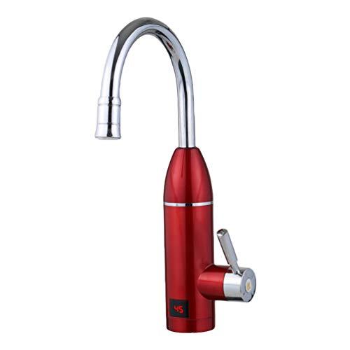 N / A Eu-Stecker Elektrische Küche & Badezimmer Wasser Heizung LED Temperaturanzeige Elektrische Wasserhahn Heizung Wasserhahn (Roter Stil A) Schutzstecker