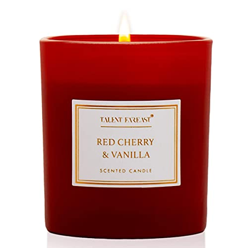 TALENT FAREAST Red Cherry + Vanilla Mini Jar Candle Scented for Home 4.8oz. Luxury Aromatherapy Candles 25 Hour Rich Aroma Gift Natural Soy Wax Premium Fragrance Jar Candle Relaxing