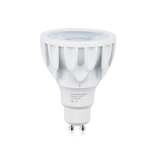 Bonlux GU10 LED Lampe 12W 1200 Lumen PAR20 Kaltweiß 6000K AC 220V COB Entspricht 75-100W Halogenlampe 24 Gred Scheinwerfer für Track-Spotlights Eingebettete Deckenleuchte (1-Stück Nicht Dimmbar)