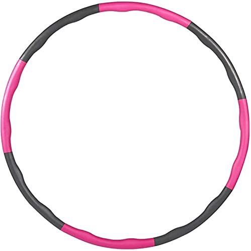 SONG Hoola Hoops para Adultos Niños, Aro de Ejercicio Ponderado, 8 Secciones, Desmontable, para Perder Peso, Cintura, Masaje, Ejercicio, Aros para Mujeres, Hombres, Jóvenes, Señoras,Pink+Grey