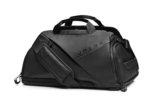 "OMEN Transceptor DuffleBag Backpack with USB Port Charger, 17.3"" Laptop Sleeve, Water-Resistant, Shoe Stash, RFID-Blocking, Luggage Sleeve (7MT82AA)"