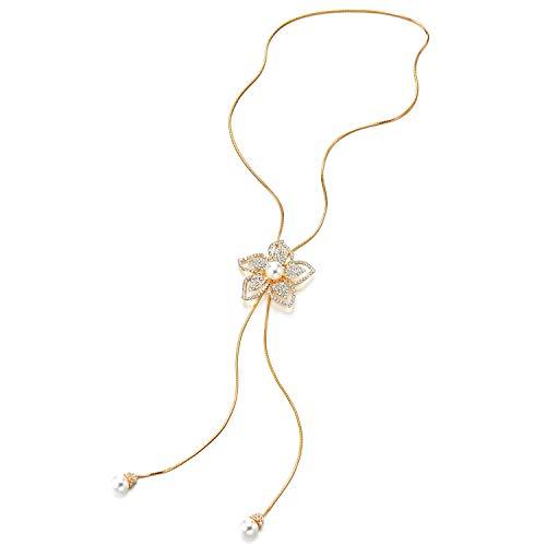COOLSTEELANDBEYOND Oro Largo Cadena Collar Lariat Statement Collar Borla Perlas Sintéticas Rhinestone Flor Colgante Ajustable, Fiesta