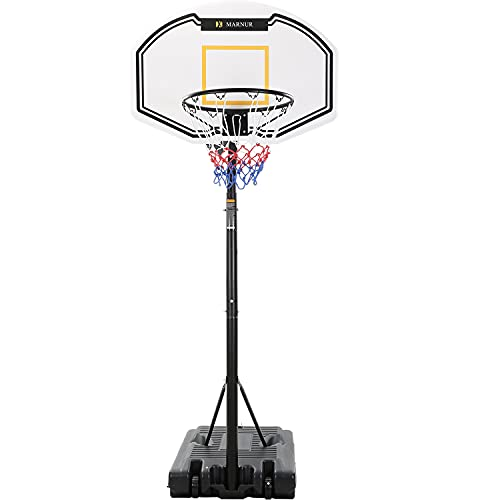 """MARNUR Basketball Hoop Portable Basketball Goal Basketball System 35""""x23.6"""" Backboard with Adjustable Height and Removable Wheels Outdoor/Indoor for Kids/Youth/Teenagers"""