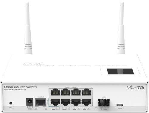 Mikrotik CRS109-8G-1S-2HnD-IN 8x Gigabit Draadloze Smart Switch/Router, 1x SFP kooi, LCD, 802.11b/g/n,