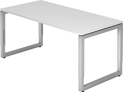 bümö® massiver Schreibtisch höhenverstellbar | Bürotisch extrem massiv & stabil | Büroschreibtisch Tisch für Büro in 4 Größen & 6 Dekoren (Weiß, 160 x 80 cm)