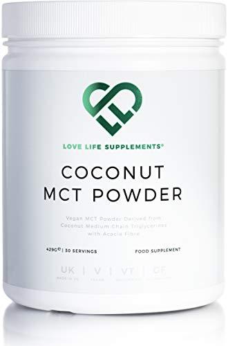 Love Life Supplements - MCT Pulver, 100% Aus Kokosnuss gewonnen, mit Ballaststoffen der Akazie versetzt, 430g
