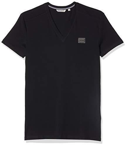 Antony Morato T-Shirt Sport Slim Scollo V con Placchetta, Blu (Blu Notte 7066), Medium (Taglia Produttore:M) Uomo