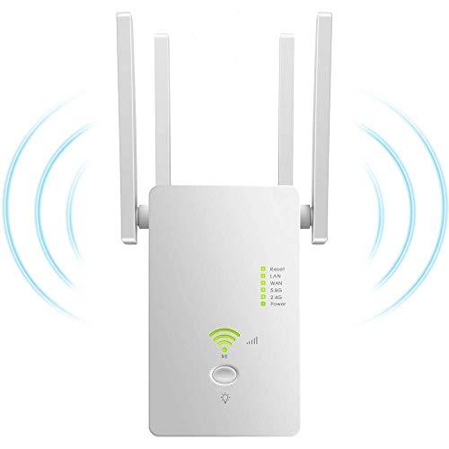 Repetidor WiFi Inalámbrico, WiFi Repeater Dual Band Extensor WiFi AC1200, Amplificador Repetidor...