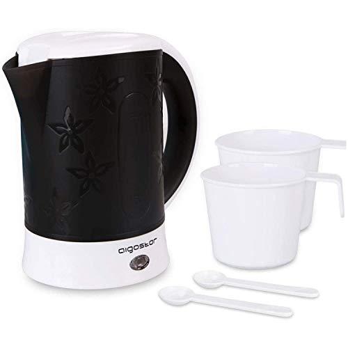 Aigostar Cooltravel 30JQL – Hervidor de agua compacto 0,6 litros, 650 W, diseño integrado, protección contra la ebullición en seco. Libre de BPA. Incluye dos tazas y dos cucharas. Diseño exclusivo