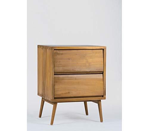 Table de Chevet en Teck 45 cm, Bout de canapé en Bois de Teck Massif