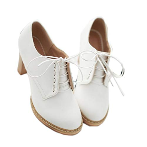 Womens PU Leather Oxfords Brogue Wingtip Lace up Chunky High Heel Dress Pumps Shoes White
