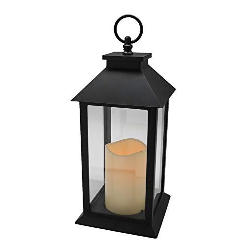 YAKii Hängende Glasscheiben-Laterne, tragbare LED-Kerzen-Licht, betrieben mit 3 AAA-Batterien für Garten, Hof, Innen & Dekoration, Schwarz