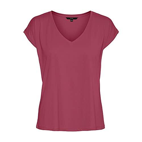 VERO MODA Damen VMFILLI SS V-Neck Tee GA NOOS T-Shirt, Dry Rose, L