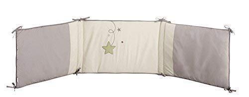 P'tit Basile - Joli Tour de lit bébé brodé en coton BIO - protection tête - collection mixte Pluie d'étoiles. S'adapte aux lits de dimensions 60x120 cm et 70x140 cm.