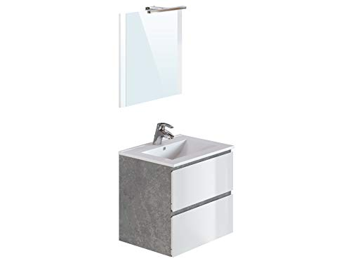 Marca Amazon -Movian Argenton - Mueble de baño con espejo y lavabo, 61 x 46,5 x 57 cm, gris