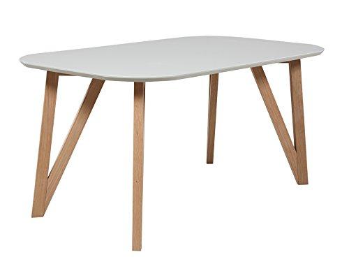 SalesFever Esszimmertisch Aino, Küchentisch in grau, 160 x 90 cm, furnierter Esstisch, pflegeleichter & Abgerundeter Holz-Tisch, FSC® Zertifiziert