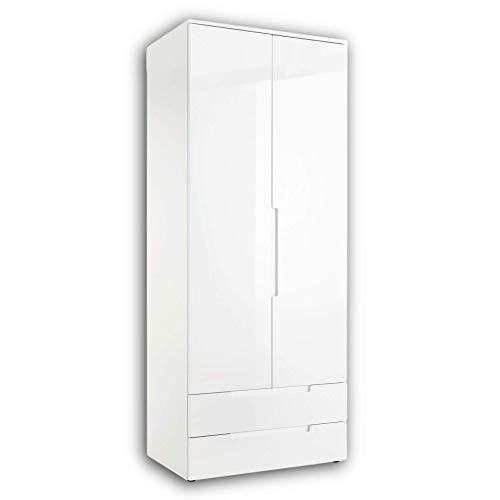 Stella Trading SPICE Eleganter Kleiderschrank mit viel Stauraum - Vielseitiger Drehtürenschrank in Weiß hochglanz - 84 x 208 x 57 cm (B/H/T)