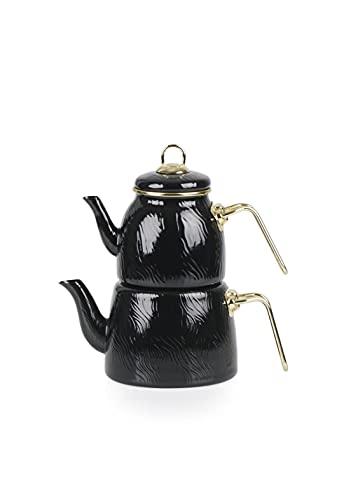 Acar Hüma, Teekanne aus Emaille, Schwarz, Induktion geeignet, Türkische Teekanne, Teekocher, Türkische Teekanne Set…