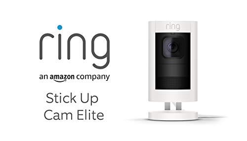 Ring Stick Up Cam Elite - Cámara de seguridad HD, comunicación bidireccional, alarma sonora, compatible con Alexa, color blanco