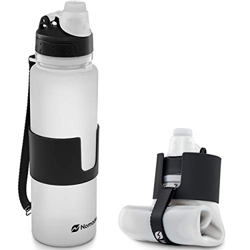 Nomader BPA Free Collapsible Sports Water Bottle - Foldable with Reusable Leak Proof Twist Cap for Travel Hiking Camping Outdoor and Gym - 22 oz (White)