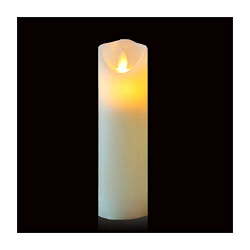 Gootu Flameless Candles AA Battery Operated LED Pillar Candle Real Wax Flickering Unscented Candles, Electronic Candle, Restaurant Scene Candles, Birthday Party Candles, Height 7' Combination, White