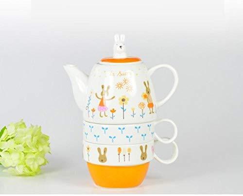 Juego de té Juegos de té 3 piezas Trajes Tetera de cerámica Tetera de dibujos animados lindo creativo Juego de té de la tarde tazas conejo
