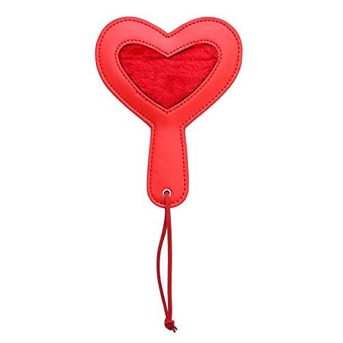 BESTOYARD Flirting Toy Teasin Toy PU Cuero en Forma de corazón Raqueta para Adultos Amantes de Las Parejas (Rojo)