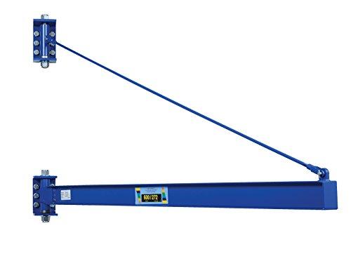 Vestil JIB-HC-6 Manual Wall Mount Steel Jib Crane, High Clearance 600 lb Capacity, 180 degree Rotation, Tie Bar Length 82-1/4