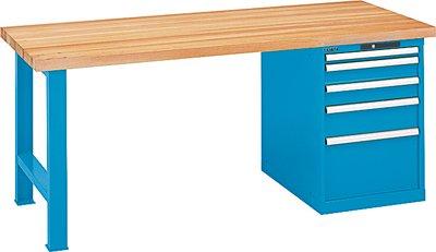 LISTA Werkbank, 1 Fuß, 1 Schubladenblock, 5 Schubl. 1x50, 2x100, 1x150, 1x300 mm, Code-Lock, Buchepl. 50 m m, BxTxH 1500x800x850 mm, RAL 7035 lichtgrau