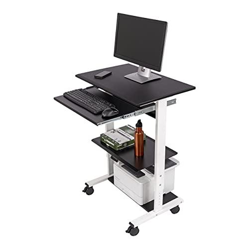 Stand Up Desk Store Ripiani Regolabili piedistallo Mobile Workstation 75 cm (Bianco e Nero)