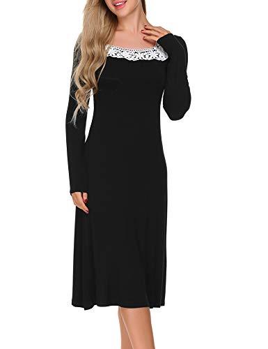 ADOME Damen Nachthemd Sleepwear Langarm A-Linie Casual Nachtkleid Nachtwäsche lang Spitze Ausschnitt Herbst Unterkleid