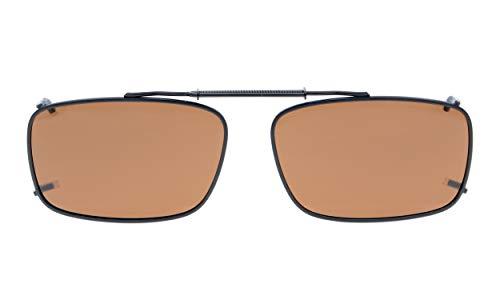 Eyekepper Metal Frame Rim Polarized Lens Clip On Sunglasses 5434MM Brown Lens
