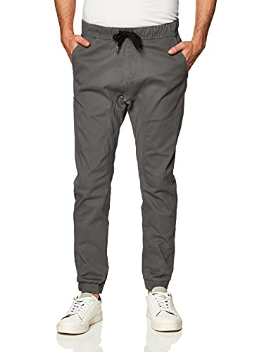 Southpole Men's Basic Stretch Twill Jogger Pants-Reg and Big & Tall Sizes, Dark Grey, Large