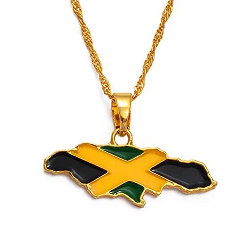 Kkoqmw Mapa de Jamaica y Bandera Nacional Collares Pendientes Joyas de Color Dorado Regalos de Jamaica Mapas