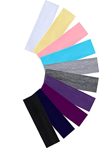 Tie Dye Headbands Cotton Stretch Headbands Elastic Yoga Hairband for Teens Girls Women Adults, Assorted Colors, 10 Pieces (Dark and Light Colors)