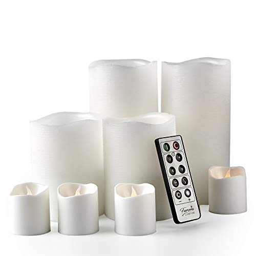 Furora LIGHTING LED Flameless Candles with Remote Control, Set of 8, Real Wax Battery Operated Pillars and Votives LED Candles with Flickering Flame and Timer Featured - White