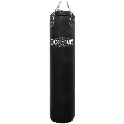 Bad Company Boxsack inkl. Heavy Duty Vierpunkt-Stahlkette I Vinyl Punching Bag, gefüllt I 120 x 35 cm - Schwarz
