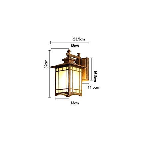 Yhui Lámpara de pared impermeable para balcón al aire libre, lámpara de pared, estilo retro, dormitorio, mesita de noche, pasillo, pasillo, jardín, lámpara de pared, vidrio, marrón, Medium