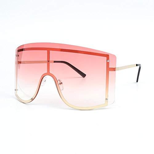 HAOMAO Diseñador de la Marca para Mujer Gafas de Sol de Gran tamaño sin Montura Lente de una Pieza Gradiente Gafas Grandes Tonos Rosa